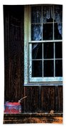 Vintage Porch Window And Gas Can Beach Towel