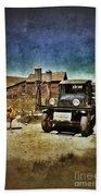 Vintage Vehicle At Vintage Gas Pumps Beach Towel by Jill Battaglia