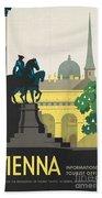 Vintage Vienna Travel Poster Beach Sheet