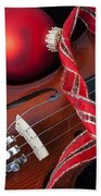 Violin And Red Ornaments Beach Towel