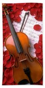 Violin On Sheet Music With Rose Petals Beach Towel