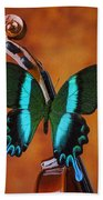 Violin With Green Black Butterfly Beach Towel