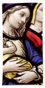 Virgin Mary And Baby Jesus Stained Glass Beach Towel