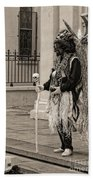 Voodoo Man In Jackson Square New Orleans- Sepia Beach Towel