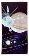 Voyager Saturn Flyby Artwork Beach Towel