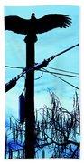 Vulture On Phone Pole Beach Towel
