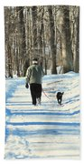 Walking The Dog Beach Towel by Paul Ward