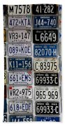 Wall Of License Plates Beach Towel