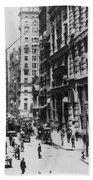 Wall Street Looking Toward Old Trinity Church - New York City - C 1910 Beach Towel