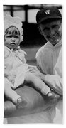 Walter Johnson Holding A Baby - C 1924 Beach Towel