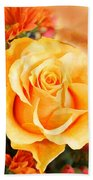 Water Color Yellow Rose With Orange Flower Accents Beach Towel