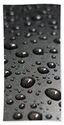 Water Drops On Black Metalica. Business Card. Invitation. Sympathy Note. Beach Towel