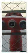Water Hydrants Built Into A Wire Mesh Fence Beach Towel