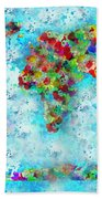 Watercolor Splashes World Map Beach Towel