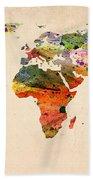 Watercolor World Map  Beach Towel