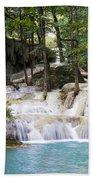 Waterfall In Deep Forest Beach Towel by Setsiri Silapasuwanchai