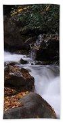 Waterfall In Fall Beach Towel