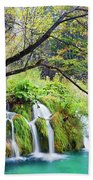 Waterfall In The Plitvice Lakes National Park Beach Sheet