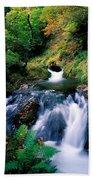 Waterfall In The Woods, Ireland Beach Towel