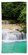 Waterfall In Tropical Forest Beach Sheet