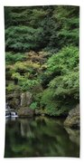 Waterfall - Portland Japanese Garden - Oregon Beach Towel