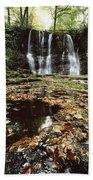 Waterfalls, During The Autumn, Glenoe Beach Towel