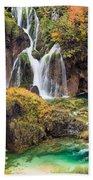 Waterfalls In Autumn Scenery Beach Towel