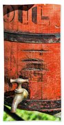 Weathered Red Oil Bucket Beach Towel