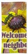 Welcome New Neighbor Card - Bee And Black-eyed Susan Beach Towel