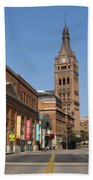Wells Street Theater District And City Hall Beach Towel