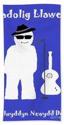 Welsh Snowman Musician Beach Towel