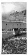 West Cornwall Connecticut Covered Bridge Black And White Beach Towel