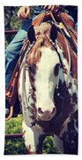 Western Paint Horse Beach Towel