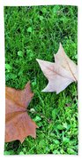 Wet Leaves On Grass Beach Towel