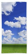 White Clouds In The Sky And Green Meadow Beach Towel