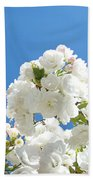 White Floral Blossoms Art Prints Spring Tree Blue Sky Beach Towel