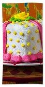 White Present Cake Beach Towel