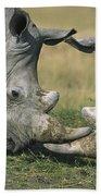White Rhinoceros Ceratotherium Simum Beach Towel