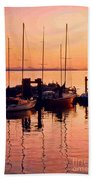 White Rock Sailboats Hdr Beach Towel