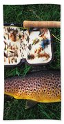 Wild Brown Trout And Fishing Rod Beach Towel