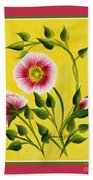 Wild Roses On Yellow With Borders Beach Towel