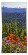 Wildflowers And Mountaintop View Beach Towel by Ellen Thane and Photo Researchers