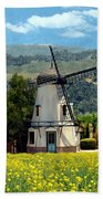 Windmill At Mission Meadows Solvang Beach Towel