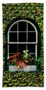 Window On An Ivy Covered Wall Beach Towel