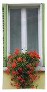 Window With Shutter Flowers Beach Towel