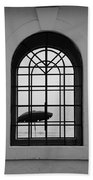 Windows On The Beach In Black And White Beach Towel