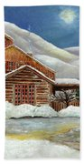 Winter At The Cabin Beach Towel