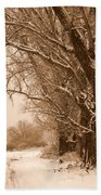 Winter Country Road Beach Towel