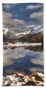 Winter Dawn Reflection Of Mount Beach Towel by Colin Monteath