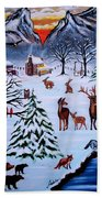 Winter Gathering Beach Towel by Adele Moscaritolo